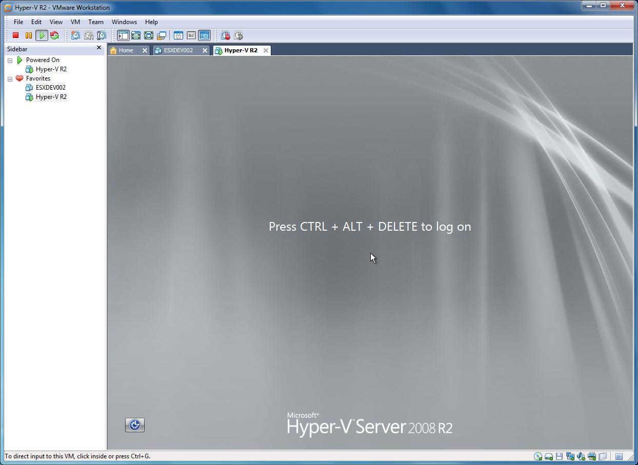 Microsoft Hyper-V Server 2008: R2 installed in VMware Workstation 7.1.4
