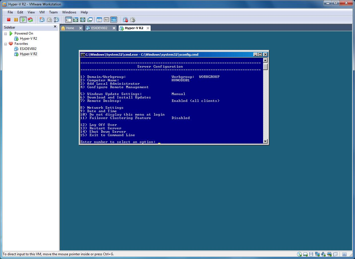Microsoft Hyper-V Server 2008: R2 running in VMware Workstation 7.1.4