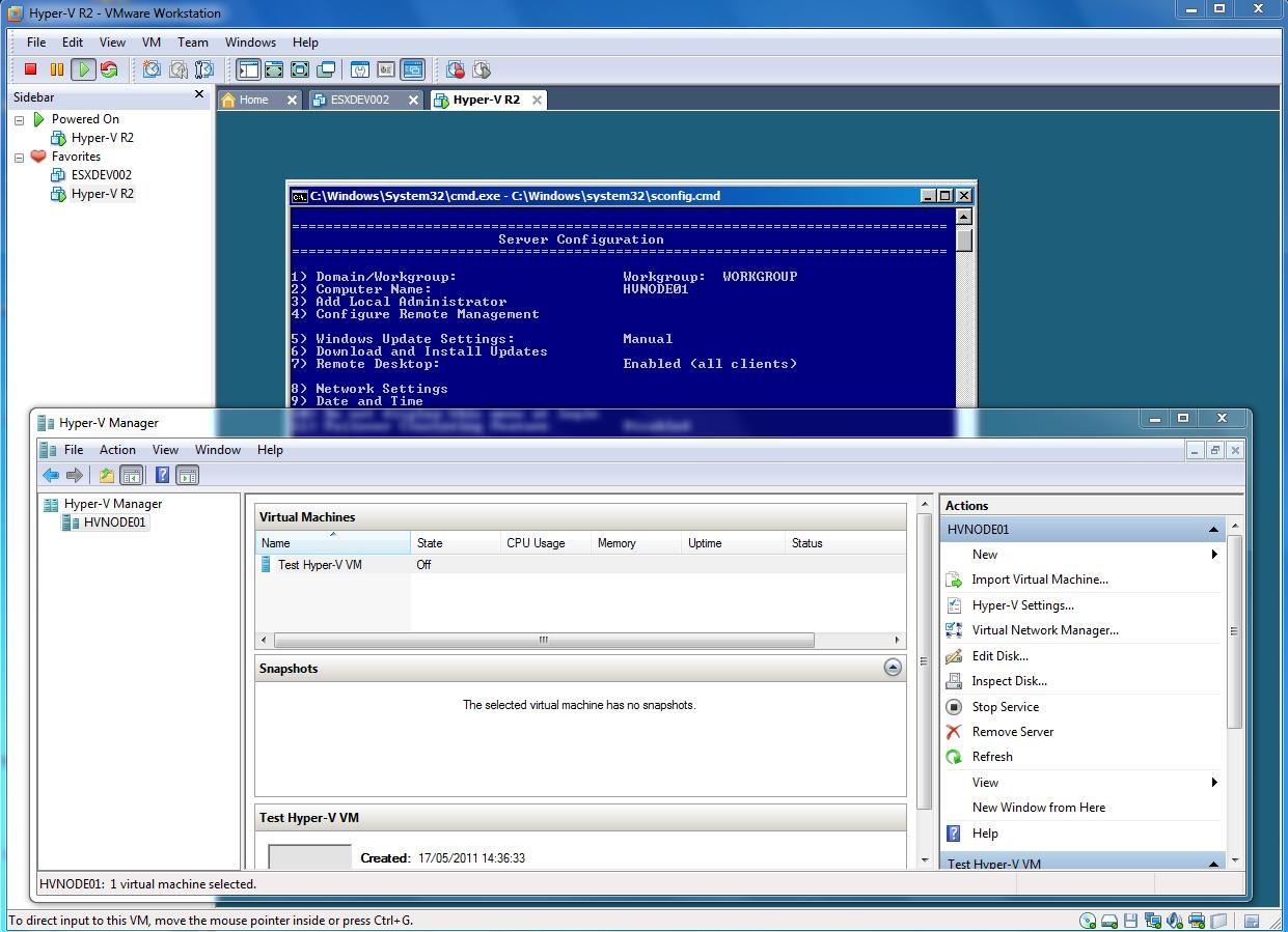 Using Hyper-V Manager to create and manage Virtual Machines on Hyper-V