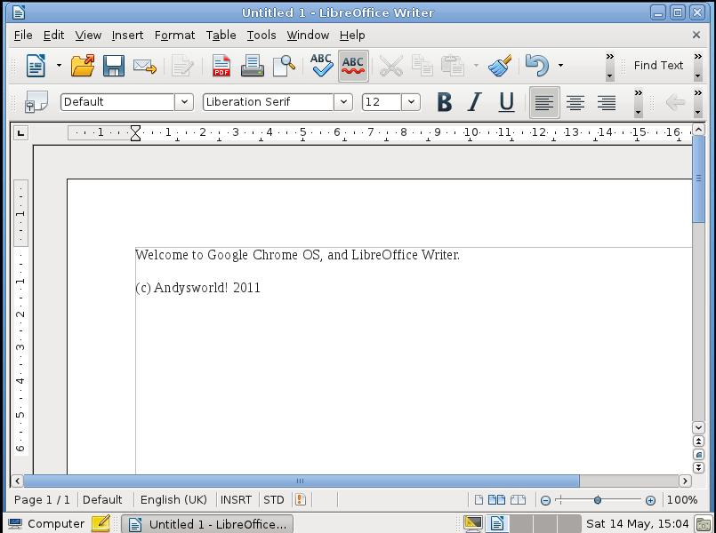 Google Chrome OS LibreOffice Writer