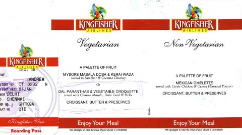 Kingfisher Boarding Card and Menu