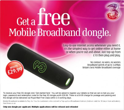3G USB Dongle for free
