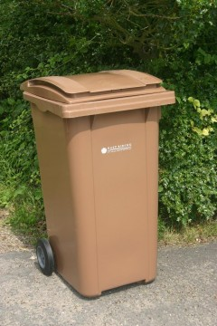 brown compost bin for roadside collection and recycling