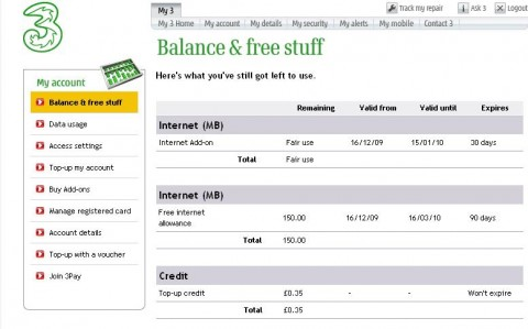 My 3 Balance and Free Stuff