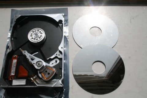 hard disc drive platters removed