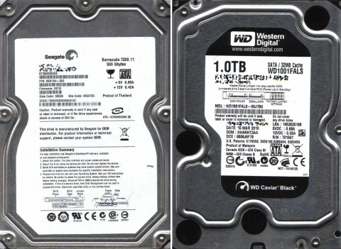 Seagate Barracuda 7200.11 500Gbytes ST3500320AS and Western Digital 1TB Caviar Black WD1001FALSq