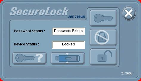 Securelock software, after logging out or USB flash drive inserted into computer, AES Secure area locked