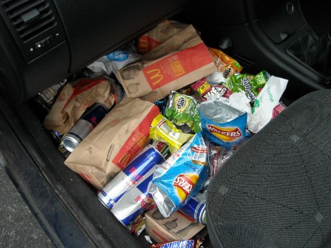 junk food in passenger footwell