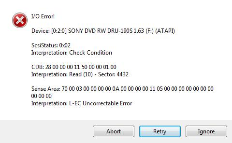 DVD Decrypter error message when trying to backup Disney's Alice in Wonderland