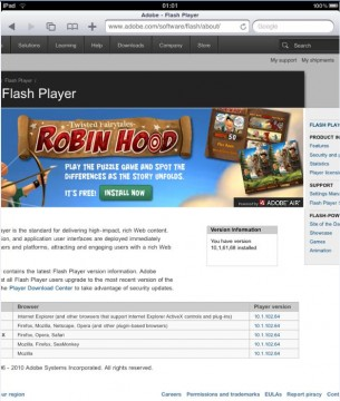 Flash working on iPad iOS 3.2.1