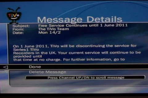 TiVo Service Ends - 1 June 2011