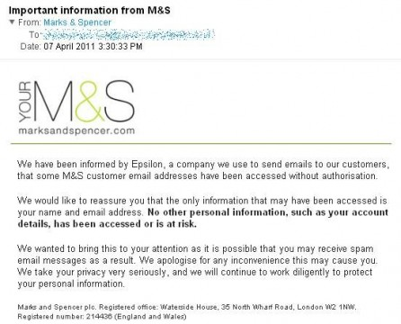 Important information from M&S