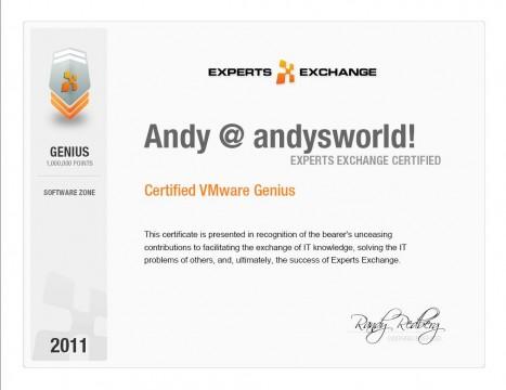 Certified VMware Genius at Experts Exchange