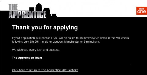 The Apprentice 2012 Application Submission