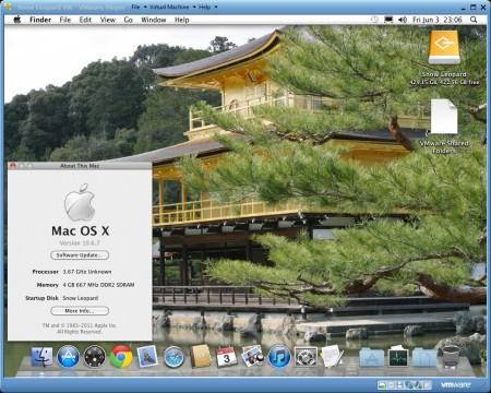 Mac OS-X-10.6.7 Snow Leopard installed and running using VMware Player 3.1.4