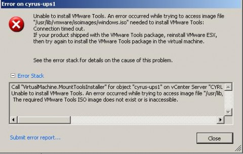 VMware Tools installtion issue with USB stick removed