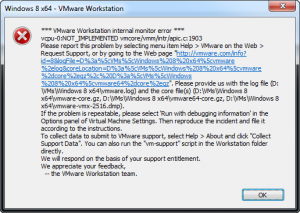 Microsoft Windows 8 Developer vcpu-0:NOT_IMPLEMENTED!