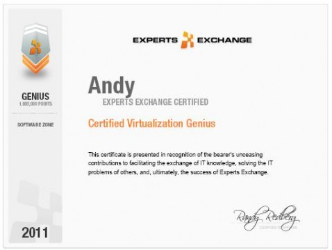 Certified Virtualisation Genius at Experts Exchange