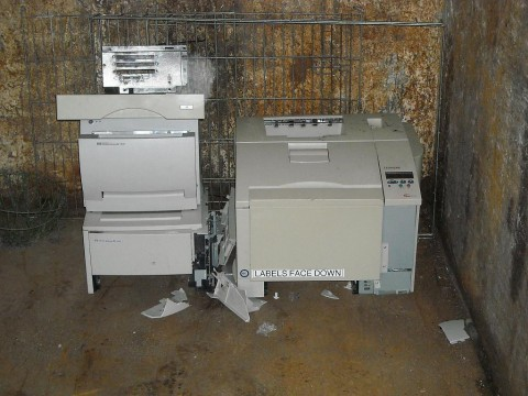 scrap printers at recycling centre