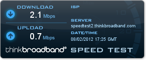 Three 3G speedtest by Thinkbroadband