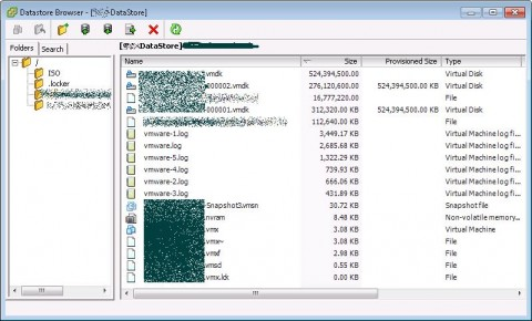 VMware vSphere Exchange Virtual Machine with two snapshots, one snapshot size of 250GB, with a parent disk of 500GB