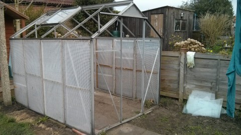 Greenhouse with all glass removed