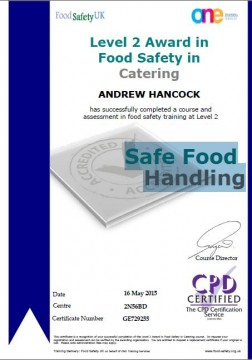 Level 2 Award in Food Safety in Catering - Safe Food Handling