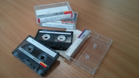 Compact cassette tapes from the 80s