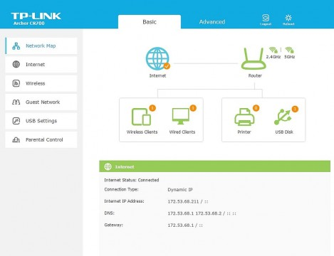 TP-Link router interface