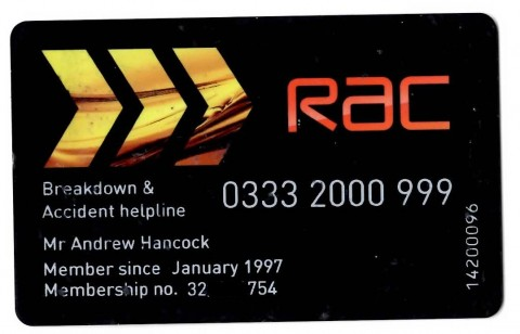 Black R.A.C membership card