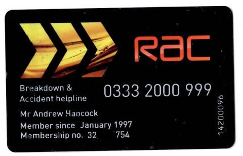 Black R.A.C membership card