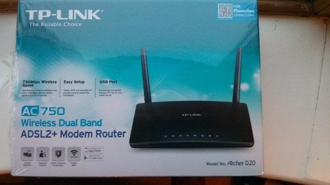 Boxed TP-LINK Archer D20 AC750 Wireless Dual Band ADSL2+ Modem Router for Phone Line Connections