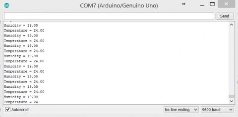 Console output - sensors readings