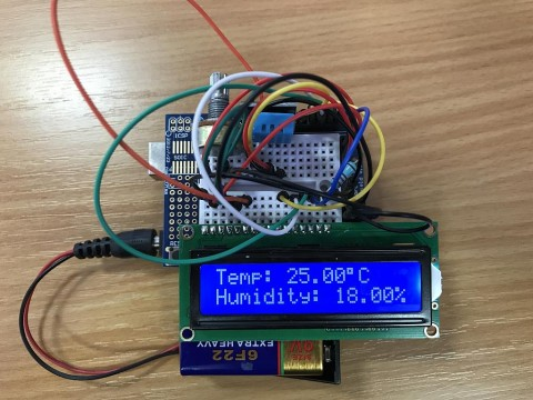 LCD display showing Temperature and Humidity