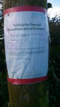 Openreach Notice on Telegraph pole