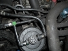 Starter motor is concealed below fuel filter